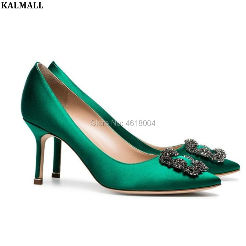 KALMALL Plus size Bridal Wedding Shoes Crystal Silk High Heels Pointed Toe Diamonds Pumps Slip-on Sexy Party Heels Green Blue