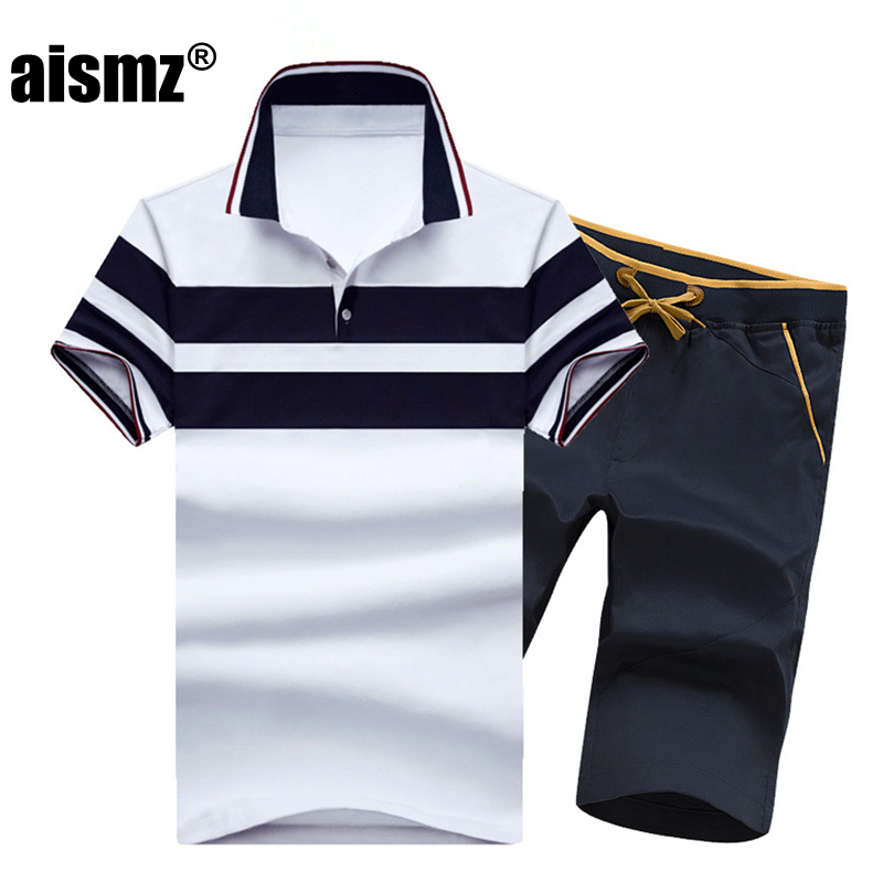 Aismz Summer Casual Polo Shirt Tracksuit Men Fashion Short Sleeve Polo Shirt+Shorts 2pcs Set Tracksuit Mens Sportswear M-4XL