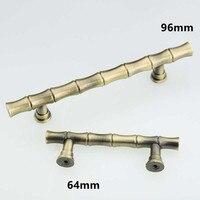 64mm 96mm vintage Bamboo furniture handles bronze kitchen cabinet dresser door handles 2.5 antique brass drawer pull knob 3.75