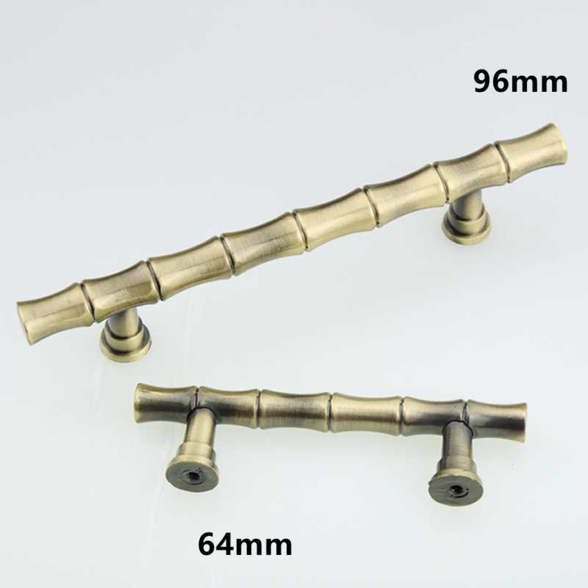 64mm 96mm vintage Bamboo furniture handles bronze kitchen cabinet ...