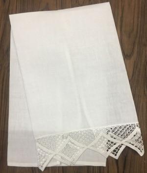 Set Of 12 Fashion White Linen Tea Towel -14x22