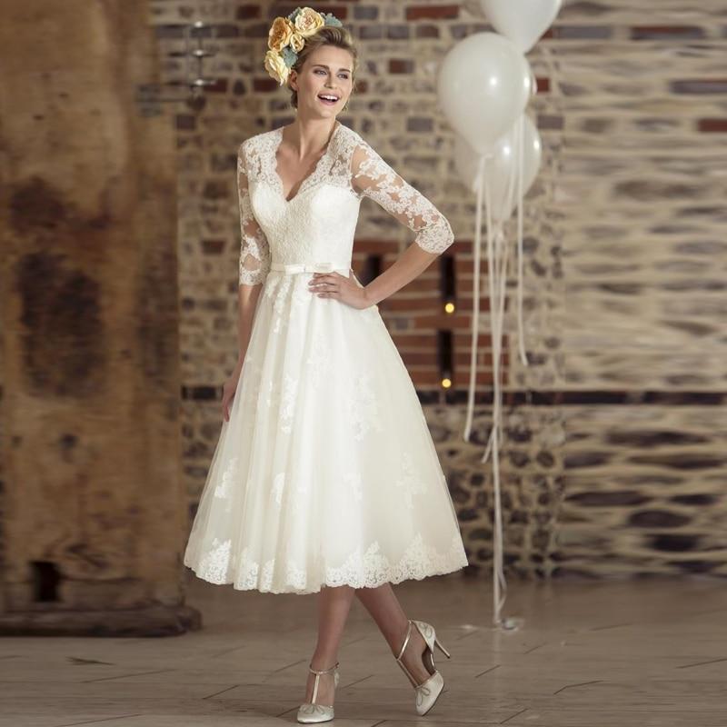 Vestidos De Novia Short Wedding Dress Three Quarter Sleeves Lace Vintage V-neck Cheap Beach Bridal Dresses 2016 Casamento