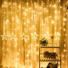 LED Stars Christmas Hanging Curtain Lights String Net Xmas Home Party Home Dec Wedding Home Decoration Battery Powered(China)