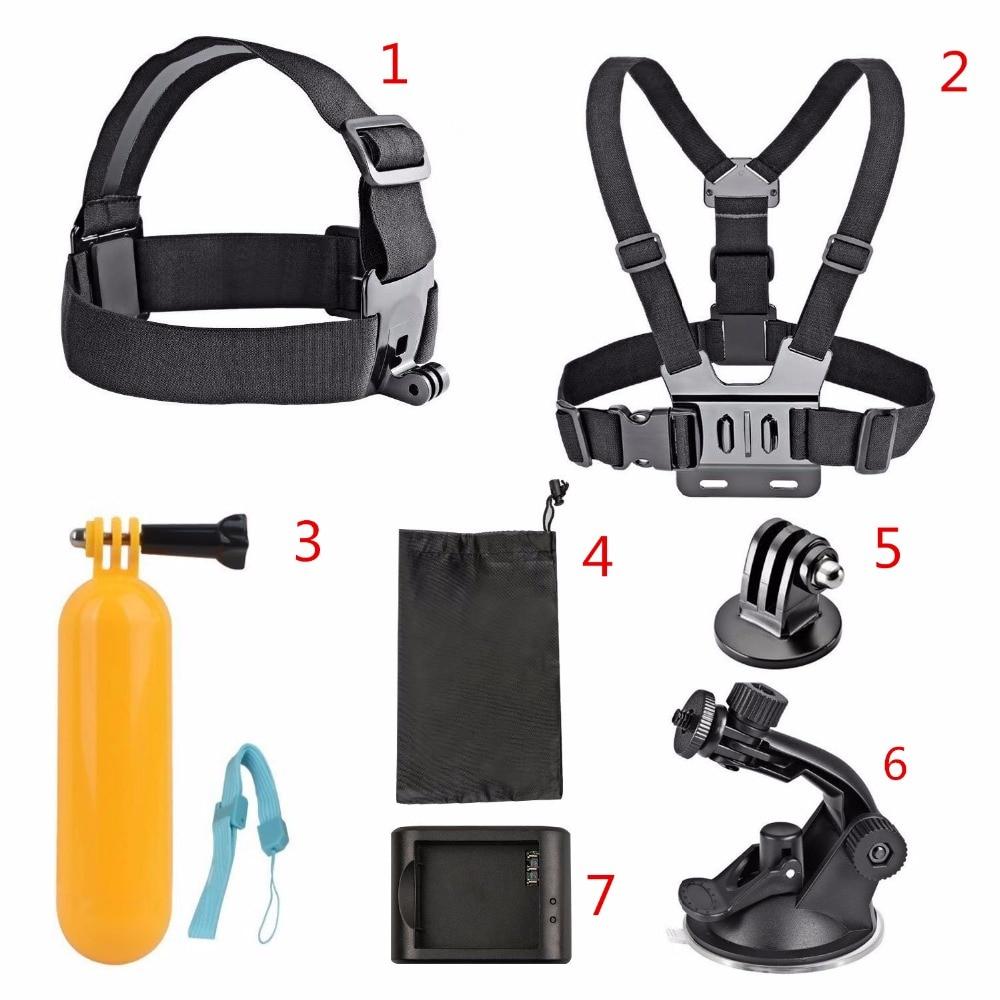 цена на AKASO 7 in 1 Action Camera Accessories Set for Sjcam SJ4000 SJ5000 SJ6000 SJ7000 AKASO EK7000 5000 EKEN H9 H9R