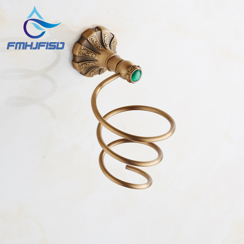 Free Shipping Wholesale and Retail Bathroom Hair Dryer Holder Wall Mounted Antique Brass free shipping wholesale and retail marble