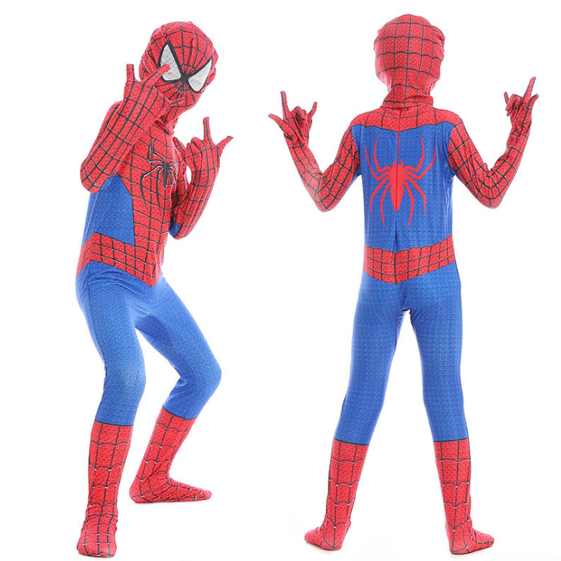 High Quality 3D Spiderman Costume For Kids Boy Girl Tight Spandex Spider-man Suit Halloween Cosplay Costumes With Headgear