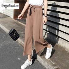 Disappearancelove 2019 Women B Wide Leg Chiffon Pants High Waist Tie Waist Trousers Palazzo OL Pants Long Culottes Pants scallop hem tie waist wide leg pants