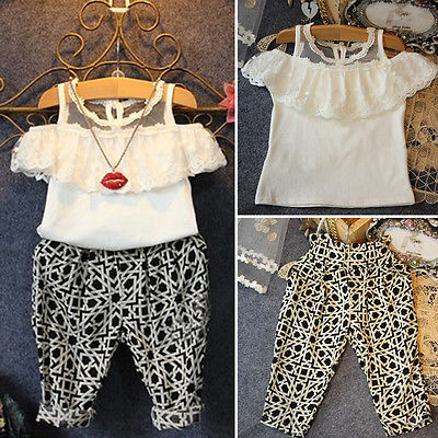 2016 Summer Baby 2PCS Toddler Girls Kids Lace Floral Tops+Check Pants Outfits Clothes Set