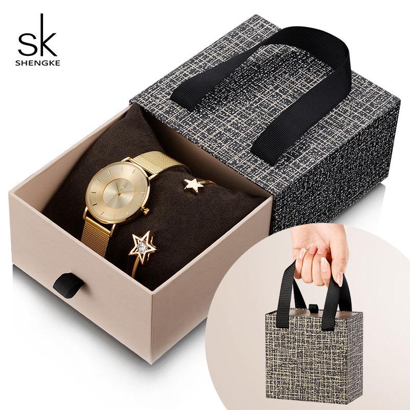 Shengke Gold Bracelet Watches Set Women Luxury Quartz Watch With Crystal Star Bangle 2019 New SK Women's Day Gift For Women