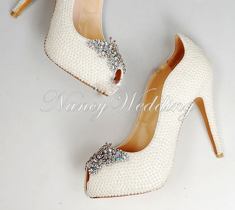 Peep Toe Ivory Shoes 008