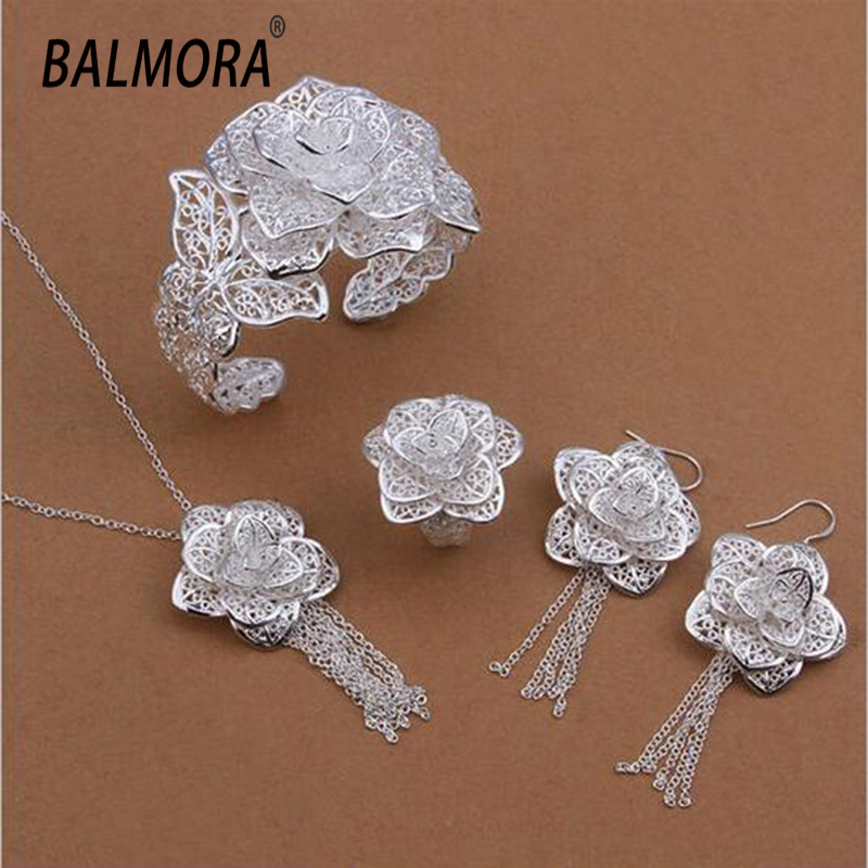 Free shipping wholesale silver plated jewelry sets flower bracelet earrings ring necklace Women Accessories Gifts Bijoux