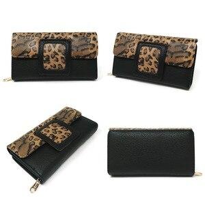 Image 4 - AFKOMST ヒョウの女性の財布ロング高級固体コイン財布クレジットカードホルダー高品質クラッチマネーバッグウォル VKP1524