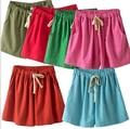 new2016 women summer shorts european lady cotton linen solid color high elastic waist casual loose fashion brand shorts women 13