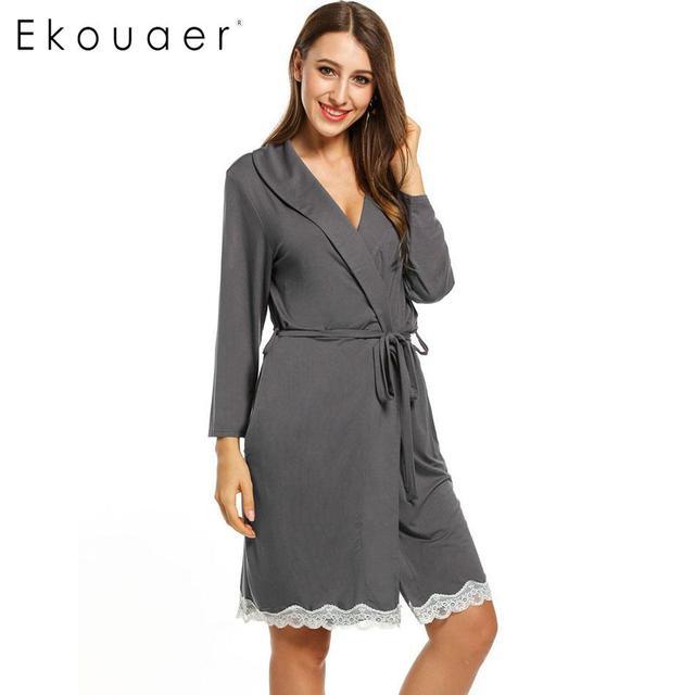 Ekouaer Для женщин кимоно из хлопка, халат отказаться шеи ночной рубашке кружева декор туника Тонкий пижамы халат с поясом Женский Ночное