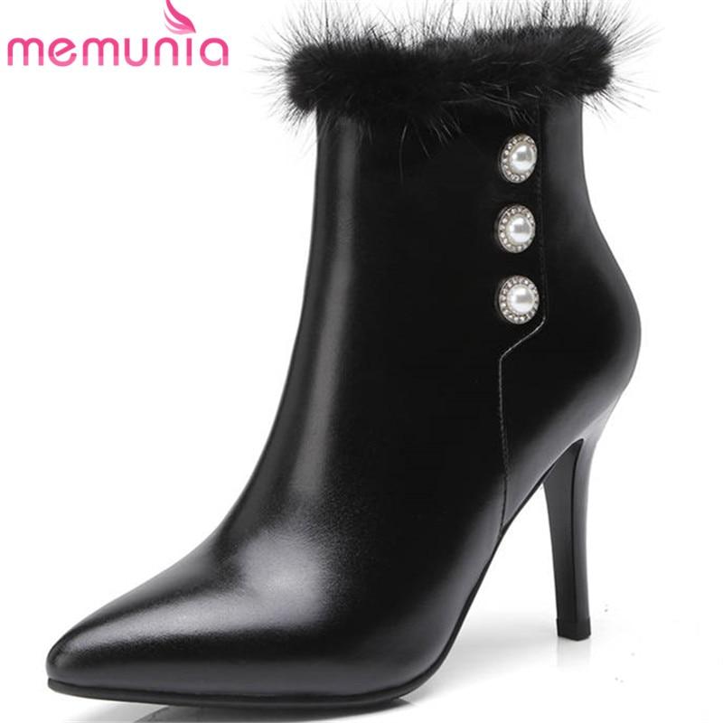 MEMUNIA 2018 ankle boots for women genuine leather stiletto heels ladies boots zipper rivet fashion dress shoes woman balckMEMUNIA 2018 ankle boots for women genuine leather stiletto heels ladies boots zipper rivet fashion dress shoes woman balck