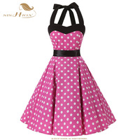 SISHION Cotton Dress Plus Size Halter Lace Up Back Vintage Dress 50s 60s Women Polka Dot