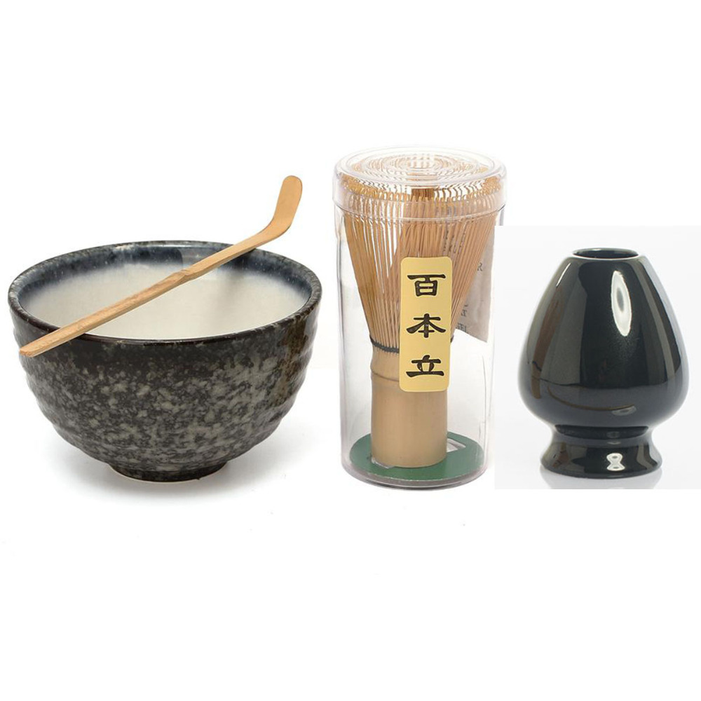 Elegant Traditional Matcha Giftset Natural Bamboo Whisk Scoop Ceremic bowl whisk holder Japanese tea Sets