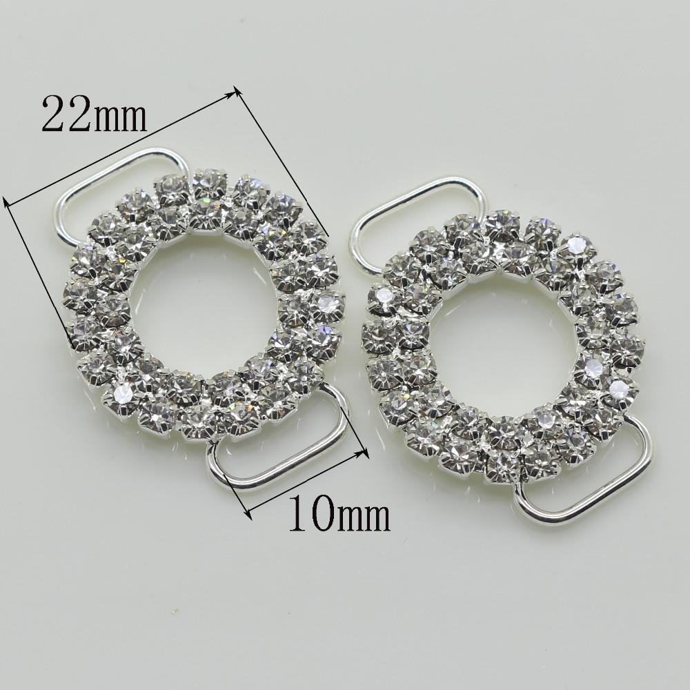 16mm 20 Stück Runde Kristall Strass-schnalle Einladung Band-schweber Für Hochzeit Silber Farbe Freies Verschiffen inner Bar 10mm