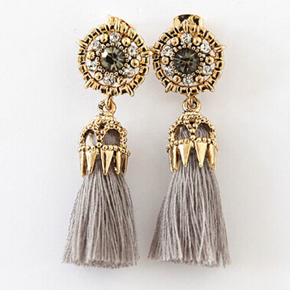 2018 Bohemian Vintage Accessories Long Drop Tassel Earrings Beautiful Metal Hollow Out Rose Rhinestone Brinco For Women