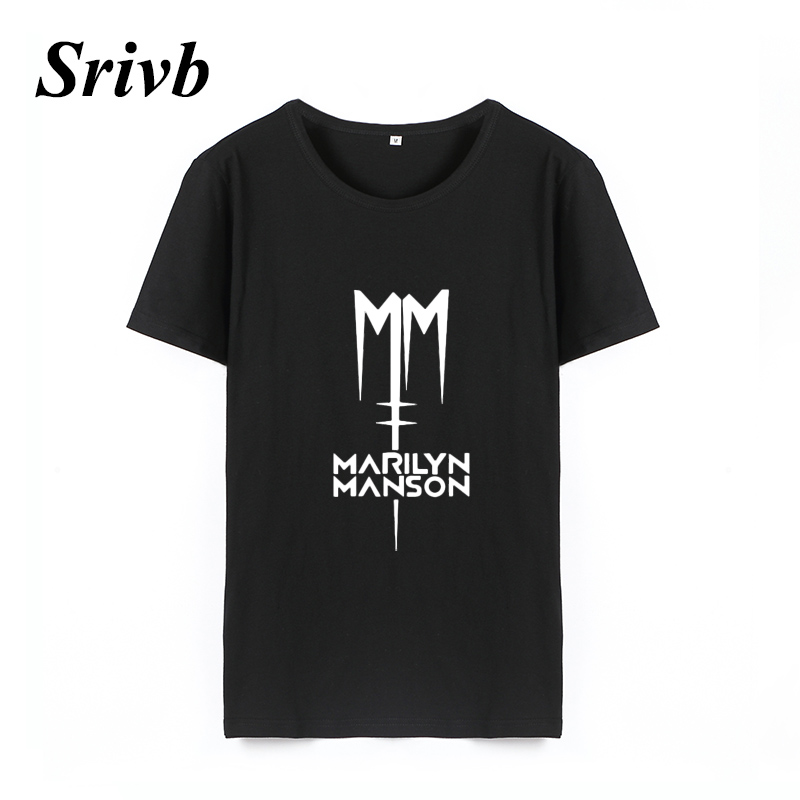 Srivb Marilyn Manson Music Punk Rock Tumblr Women Tee Shirt Femme Summer Kawaii Fashion T Shirt Women Loose Graphic Women Tshirt