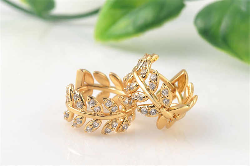 Romad Gold Color Leaves Design Small Hoop Earrings Filled Ear Jewelry Fashion Cubic Zirconia Popular Earing for Women Gift Z3