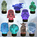 O Envio gratuito de 1 Peças de Star Wars 3D Noite Lâmpada Com Controle Remoto Darth Vader USB Lâmpada LED Estrela Da Morte X-Asa BB8 Noite luz