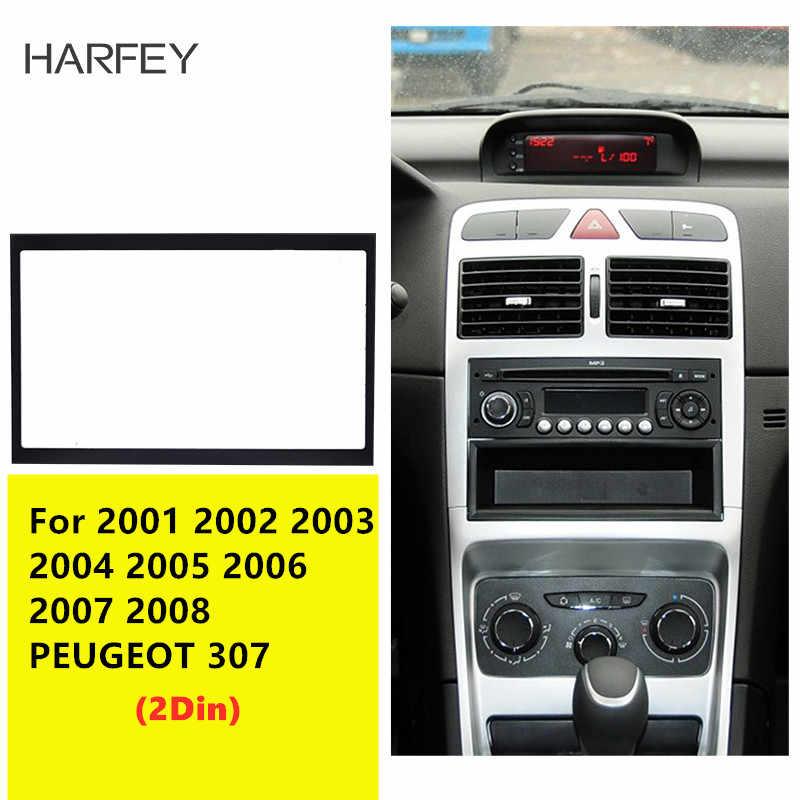 Harfey 2 Din カーラジオ筋膜トリムキット 2001 2002-2008 プジョー 307 ダッシュマウントキットアダプタ CD トリムパネルオートステレオフレーム