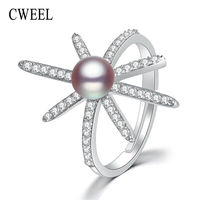 Cweel 925スターリングシルバーリング女性ジュエリーチャーム婚約リング淡水パールリング女性ジルコン指輪クリスマスギフ