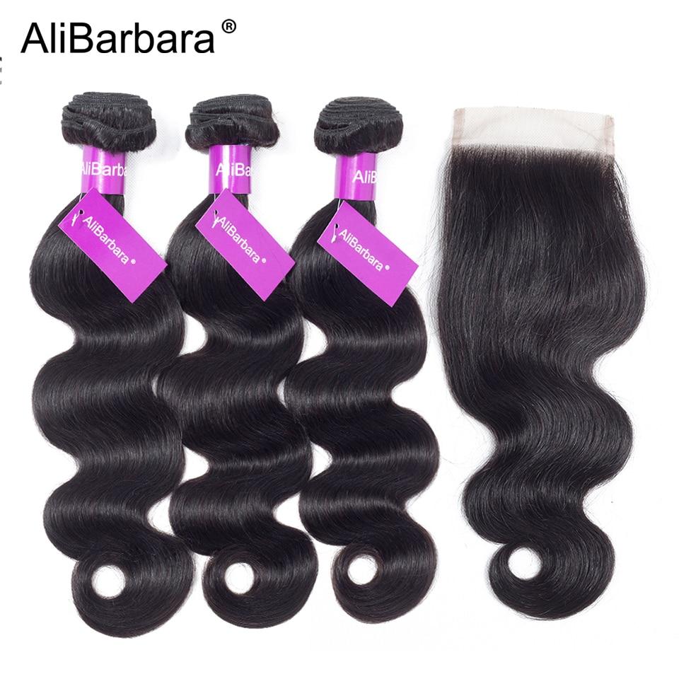 AliBarbara Hair Peruvian Body Wave Human Hair Bundles With Closure 3 Bundles with 4x4 Lace Closure