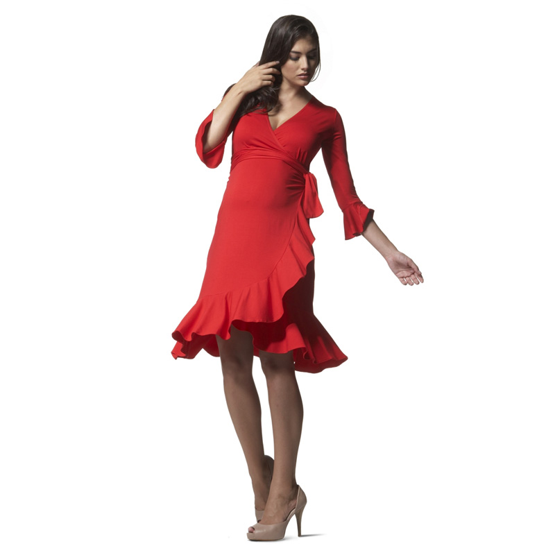 Brand High Quality Red V Neck Ruffles Maternity Dresses Summer Elegant Knee Length Dancing Party Dress