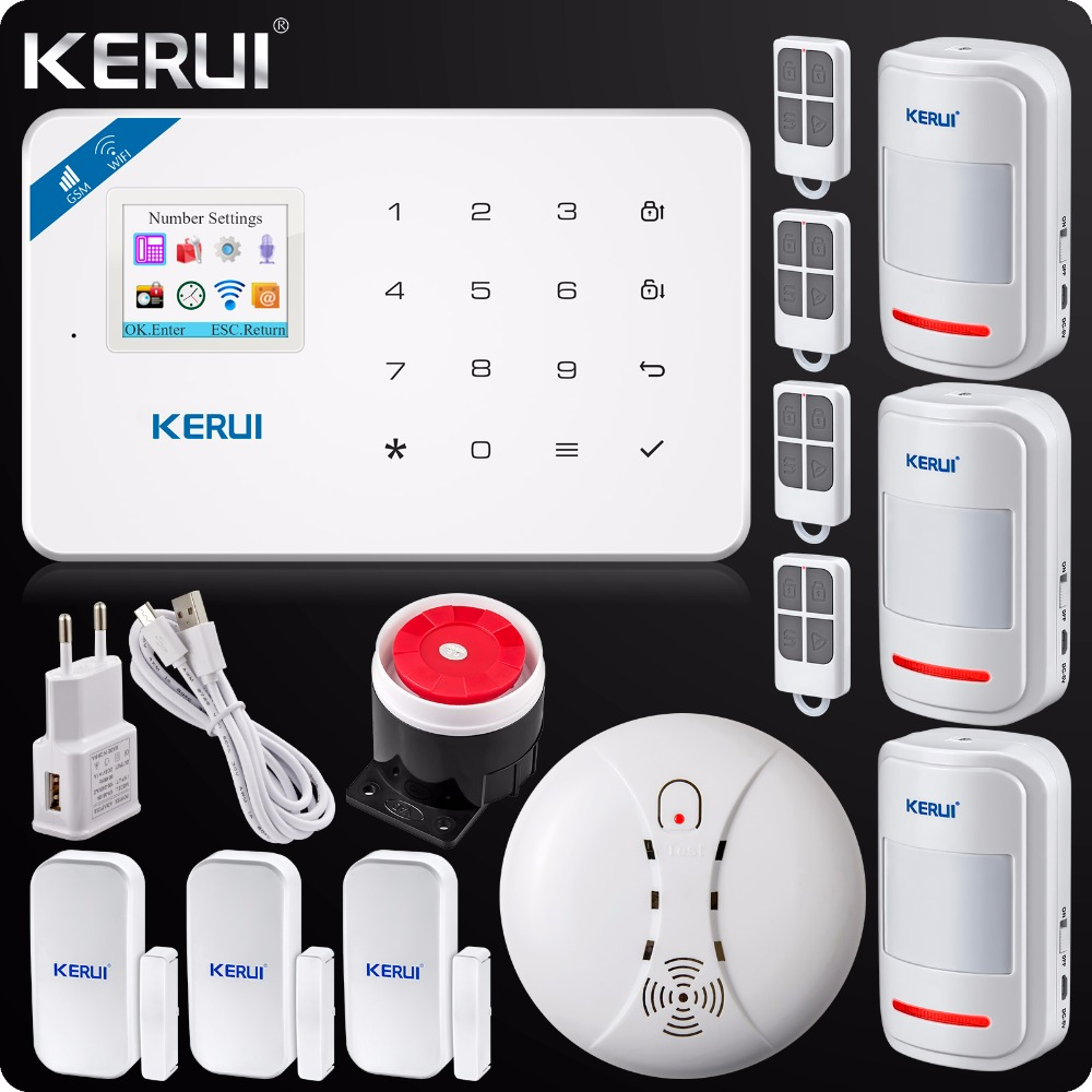 2017 W18 WIFI GSM SMS Home Burglar LCD GSM SMS Touch Screen Alarm Panel Home Security Alarm System+Wireless Smoke Detector 433mhz wireless keypad wireless siren led touch screen gs g90b wireless gsm wifi gprs burglar home security alarm system