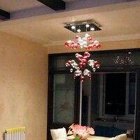 Современные светодиодный красный пузырь потолочный светильник Гостиная нержавеющая сталь шелк спальня проход стекло лампы ZL329