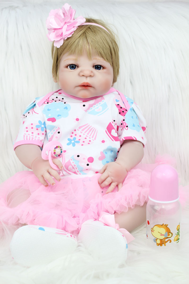 55cm Full Silicone Body Reborn Baby Doll Toy Lifelike Newborn Princess Girl Babies Doll Fashion Birthday Gift Present Bathe Toy full silicone body reborn baby doll toys lifelike 55cm newborn boy babies dolls for kids fashion birthday present bathe toy