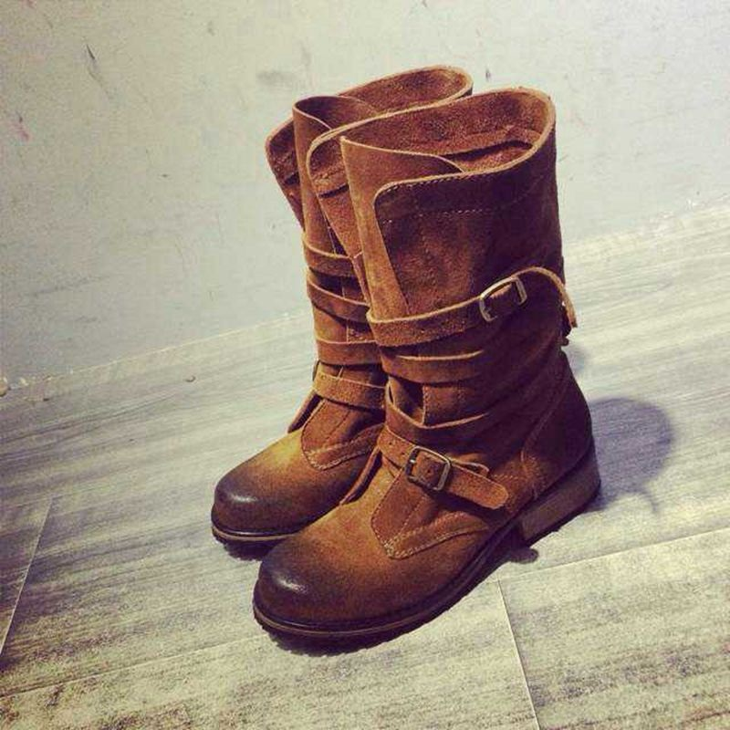 Retro Vintage Motorcycle Boots Mid-Calf Buckled Women Shoes Western Designer Flat Knight Boots Round Toe Strap Motorcycle Boots vintage fringe and stitching design women s mid calf boots