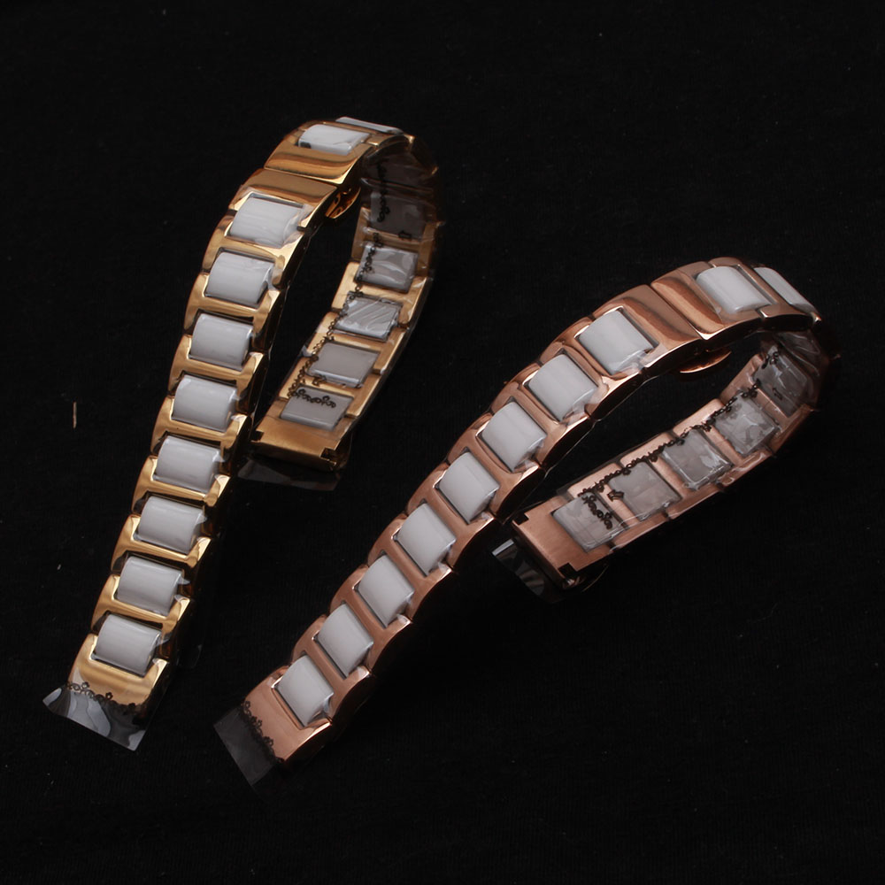 16mm 18mm 20mm 22mm ceramic and stainless steel watchband bracelet Rose gold white watch band watch strap Butterfly Buckle clasp new arrival handmade blue cowhide leather watchband strap 16mm 18mm 20mm 22mm watch accessories rosegold buckle metal clasp