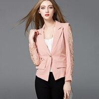 Plus Size Elegant Women Suit Jacket Blazer Lace Slim Office Jacket Ladies Coats Casual Chaqueta Mujer