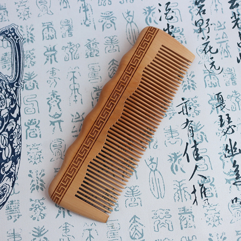 Hair Engraved Natural Peach Wood Comb Anti-Static Beard Wooden Comb Pocket Comb Without Handle For Gift