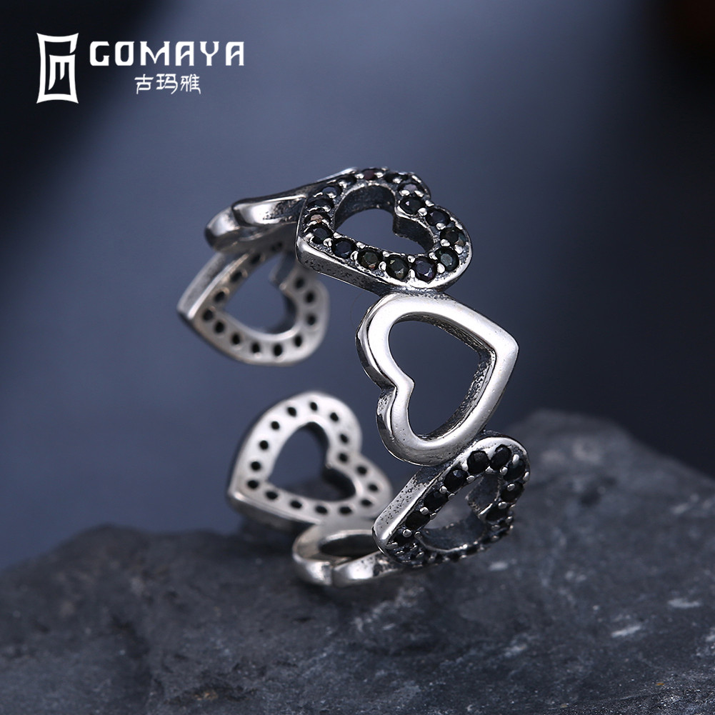 GOMAYA Vintage Punk Muti Heart Ring 925 Sterling Silver Retro Antique Fine Jewelry for Women Finger Rings Party Rock Openwork