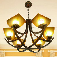 Multiple Chandelier European Shipping Led Retro Iron Ceiling Living Room Bedroom Is Garden Villa Duplex D6