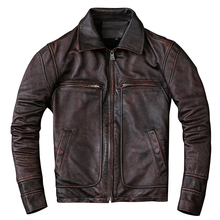 HARLEY DAMSON Vintage Brown Men Casual Leather Jacket Plus Size XXXL Genuine Cowhide Slim Fit Winter Russian Leather Coat цена