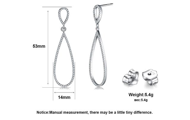 Kiss Mandy Luxury Water Drop Shape 925 Sterling Silver Earrings Stud Solid Silver Earrings With 172pcs AAA Austrian CZ SE35