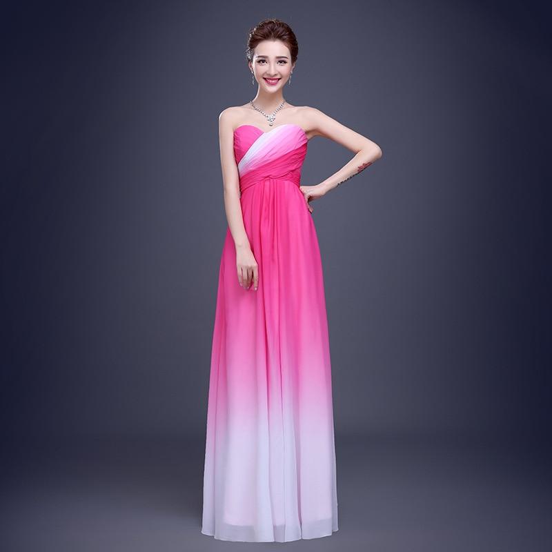 Ombre barato Polvo Pink Chiffon Dama de Honor Vestidos Largos Nueva ...