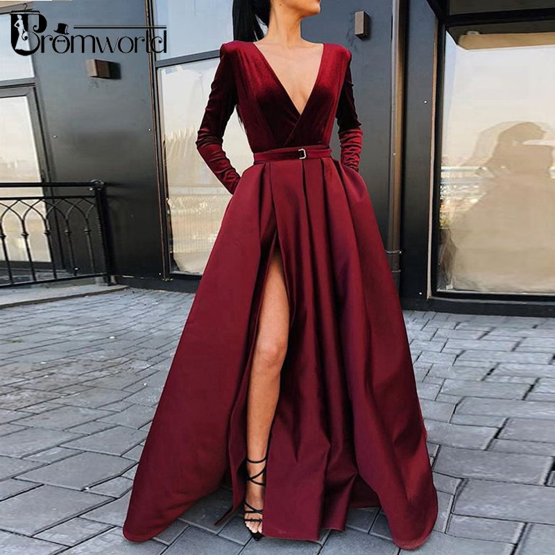 Burgundy Muslim Evening Dresses 2019 V-Neck Velour Satin Formal Dress With Pockets High Slit Elegant Long Sleeve Evening Gowns