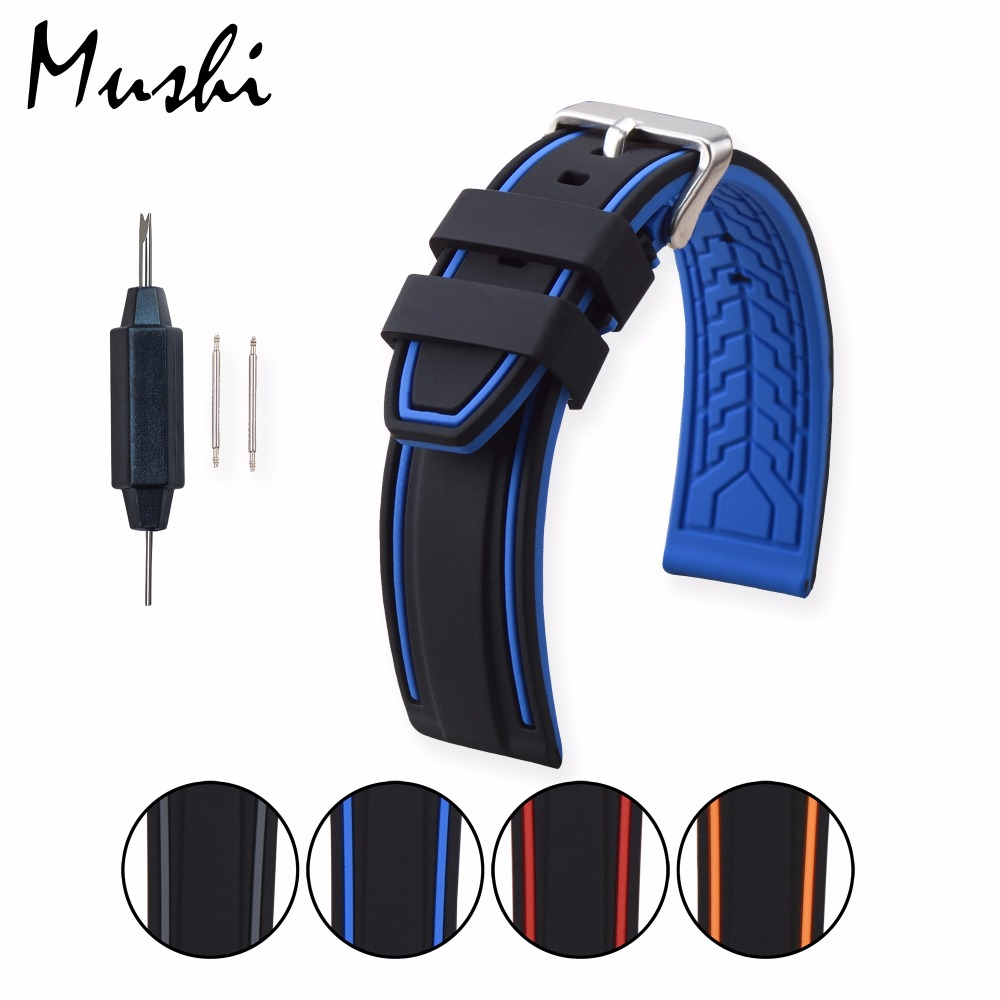 MS Silicone Watchband Black Diver Watch Band Rubber Watch Strap with Brushed Stainless Steel Buckle Clasp 20mm-26mm Watch Strap