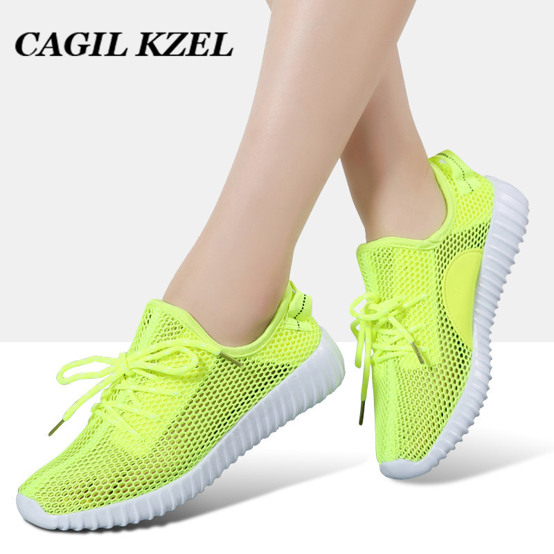 CAGILKZEL New 2019 Sneakers Women Summer Style Breathable Mesh Casual Shoes Woman Lace-up Basket Female Loafers Shoes For Women