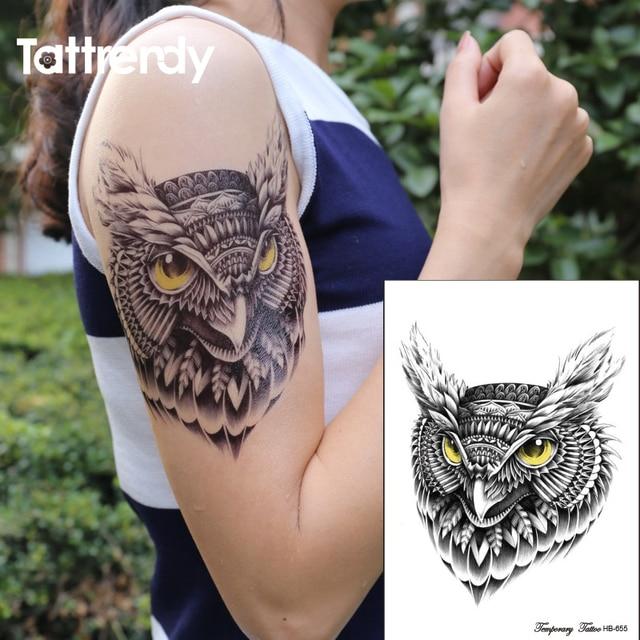 002c9f3216a3b Waterproof Temporary Tattoo sticker on body owl tattoos big Water Transfer  fake ink black flash tattoo for girl women men HB655