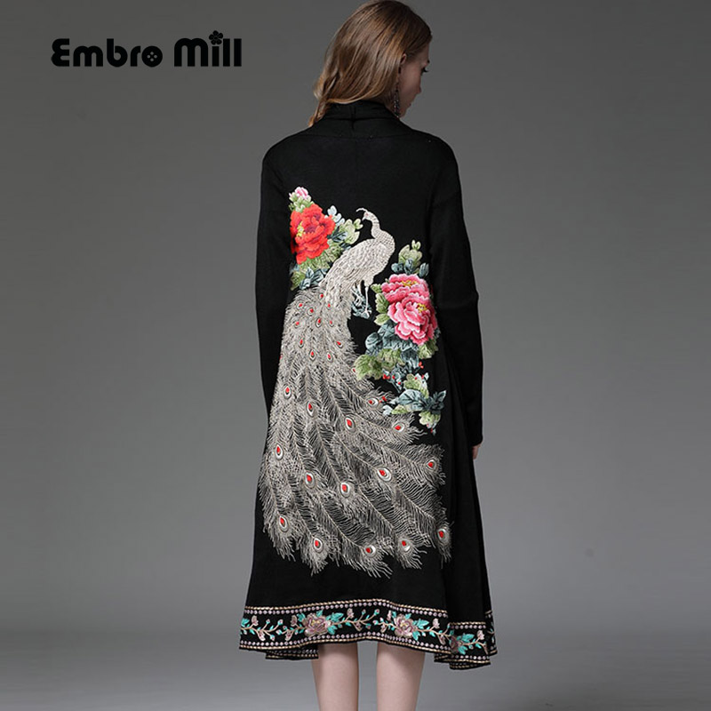 High-end Autumn Winter Wool Trench Coats For Women Vintage Embroidery Peacock Floral Open Stitch Loose Outerwear Female M-XXL