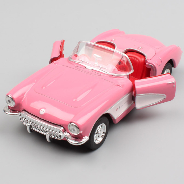 136 Scale Welly 1957 Chevrolet Corvette Chevy Vette Diecast Model Classic Vintage Pull Back Miniature Metal Toys Cars Gift Boys