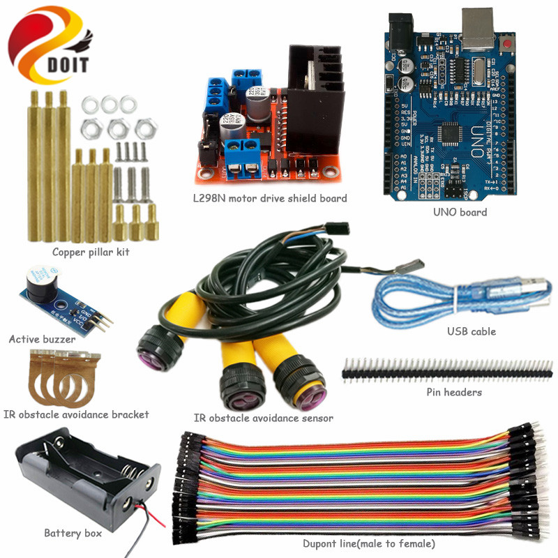 DOIT Obstacle Avoidance Kit for Robot Tank Chassis with L298N Motor Drive Shield+Arduino UNO R3 Board+IR Obstacle Sensor DIY Kit 2 wheel drive robot chassis kit 1 deck