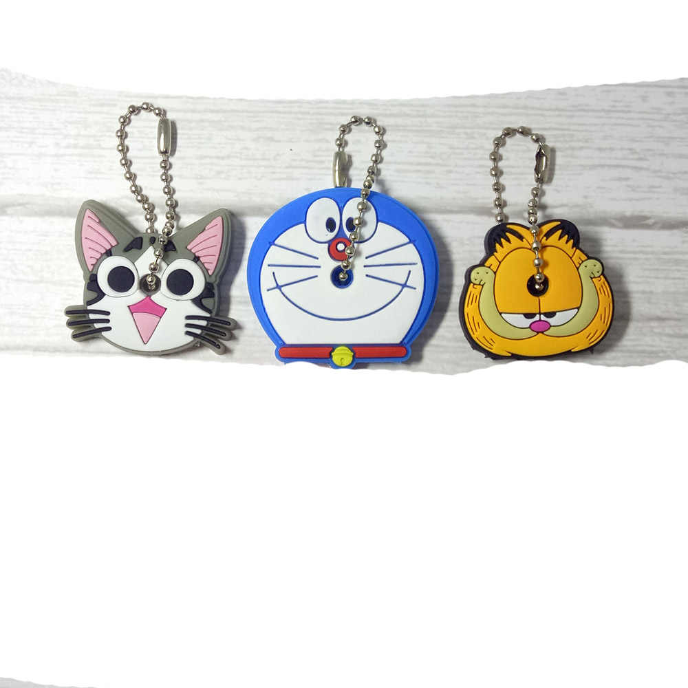 4 peças Anime Chaveiro kitty cat Tampa Chave Tampa Anel de Silicone Spiderman Batman Hulk Mulheres Porte Clef Chaveiro Garfield